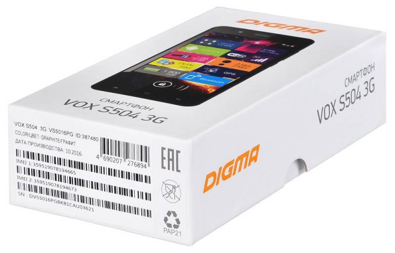 Смартфон Digma S504 3G Vox 8ГБ черный - фото 16