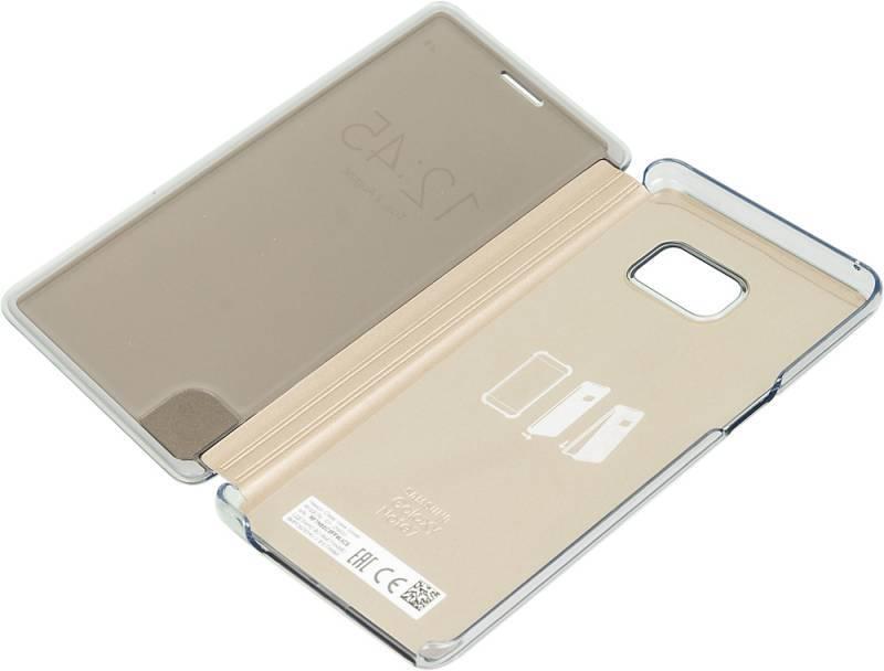 Чехол (флип-кейс) Samsung Clear View Cover золотистый - фото 4