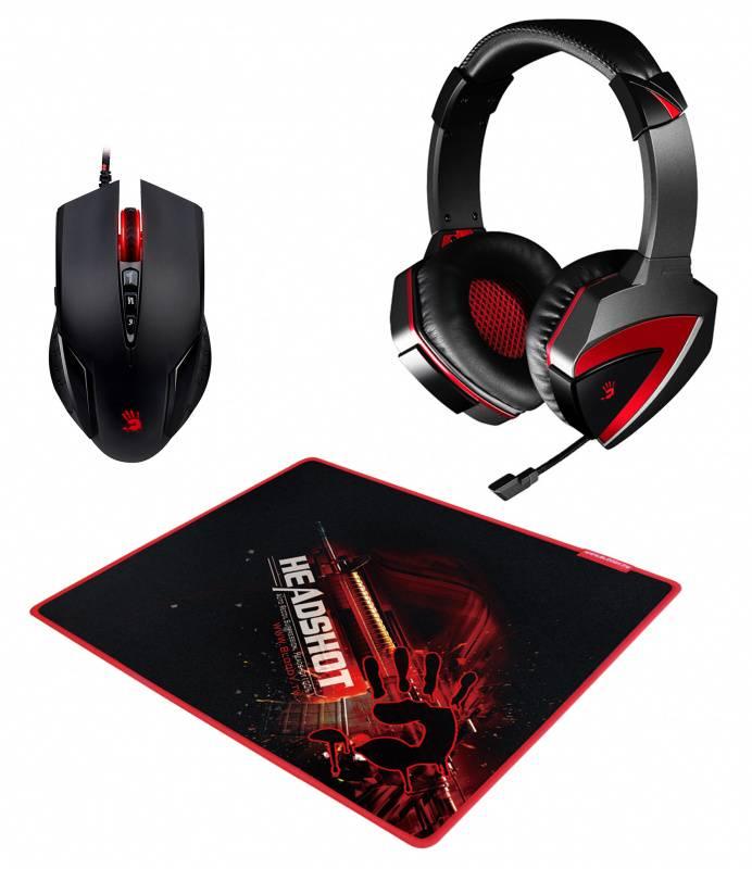 Наушники с микрофоном A4 Bloody G500+V5+B-072 черный/красный (V5G5PB72) - фото 1