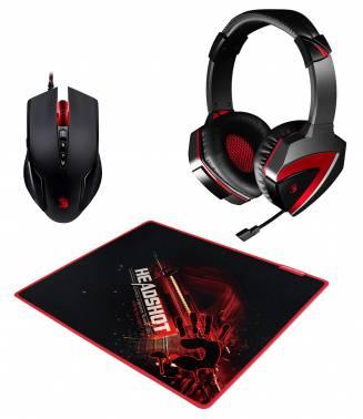 Наушники с микрофоном A4 Bloody G500+V5+B-072 черный / красный