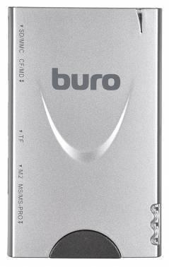 Картридер USB2.0 Buro BU-CR / HUB3-U2.0-1012 серебристый