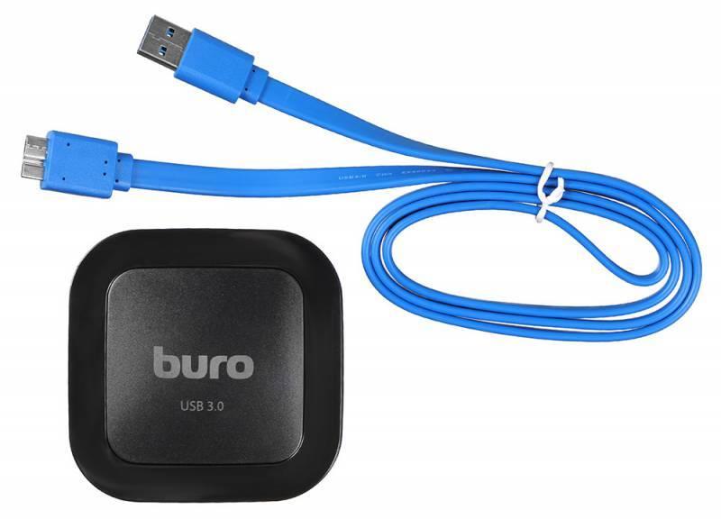 Картридер USB3.0 Buro BU-CR/HUB3-U3.0-C004 черный - фото 2
