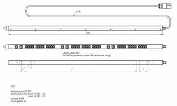 Блок распределения питания Conteg IP-BA-336C36C93UT11 верт.размещ. 36xC13 6xC19 3xUTE базовые 3x16A EN 60309 3м