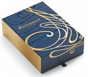Набор Waterman Carene De Luxe (1978717) Black Gold GT ручка шариковая M синие чернила в компл.:блокнот подар.кор.