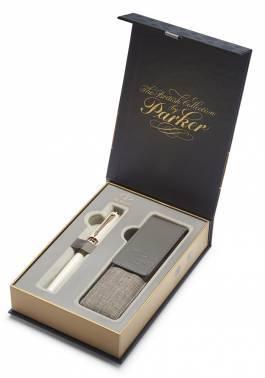 Набор Parker Ingenuity S F501 (1978391) Pearl PGT ручка 5й пишущий узел F черные чернила в компл.:чехол для ручки подар.кор.