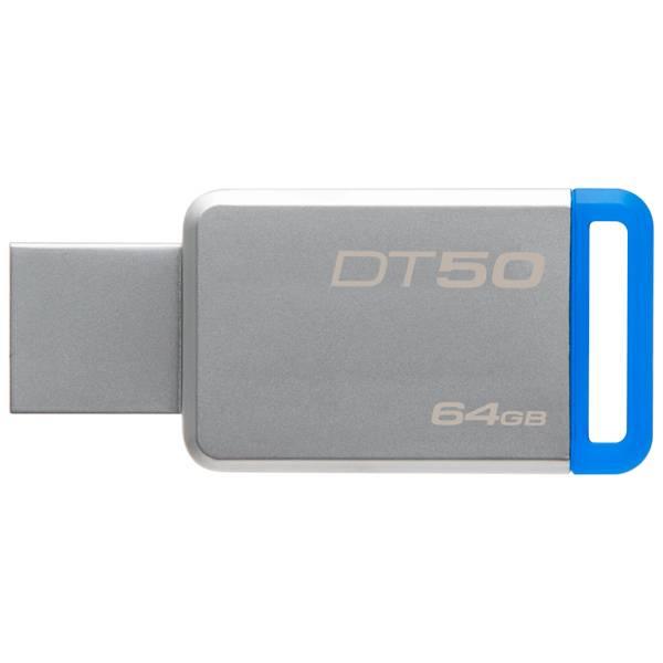 Флеш диск Kingston DataTraveler 50 64ГБ USB3.1 серебристый/синий (DT50/64GB) - фото 1