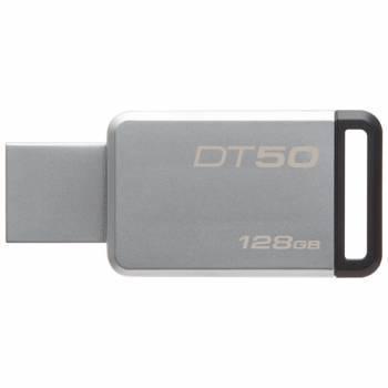 Флеш диск 128Gb Kingston DataTraveler 50 USB3.1 серебристый / черный