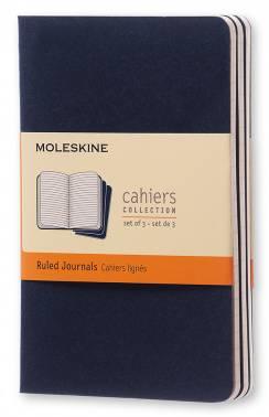 Блокнот Moleskine CAHIER JOURNAL POCKET 90x140мм обложка картон 64стр. линейка синий индиго (3шт)