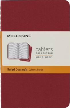Блокнот Moleskine CAHIER JOURNAL POCKET 90x140мм обложка картон 64стр. линейка клюквенный (3шт)