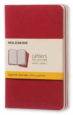 Блокнот Moleskine CAHIER JOURNAL POCKET 90x140мм обложка картон 64стр. клетка клюквенный (3шт)
