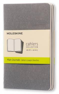 Блокнот Moleskine CAHIER JOURNAL POCKET 90x140мм обложка картон 64стр. нелинованный серый (3шт)