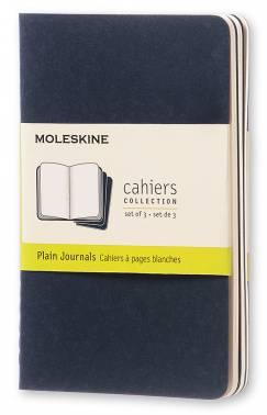 Блокнот Moleskine CAHIER JOURNAL POCKET 90x140мм обложка картон 64стр. нелинованный синий индиго (3шт)