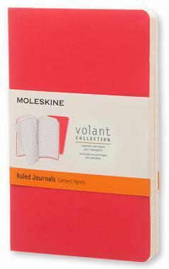 Блокнот Moleskine VOLANT POCKET 90x140мм 80стр. линейка мягкая обложка бордовый / красный (2шт)