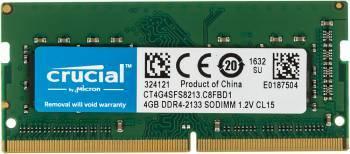 Модуль памяти Crucial CT4G4SFS8213, объем 1 х 4Gb, форм-фактор SO-DIMM 260-pin, тип памяти DDR4, рабочая частота 2133MHz, unbuffered