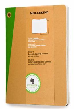 Блокнот Moleskine EVERNOTE XLarge 190х250мм обложка картон 120стр. клетка бежевый (2шт)