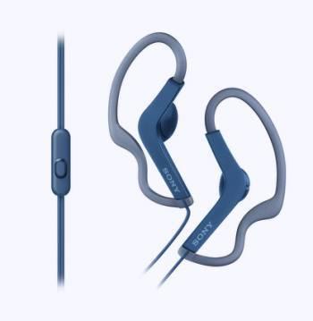 Наушники Sony MDRAS210APL.E синий, вкладыши, крепление крепление за ухом, проводные, кабель 1.2м