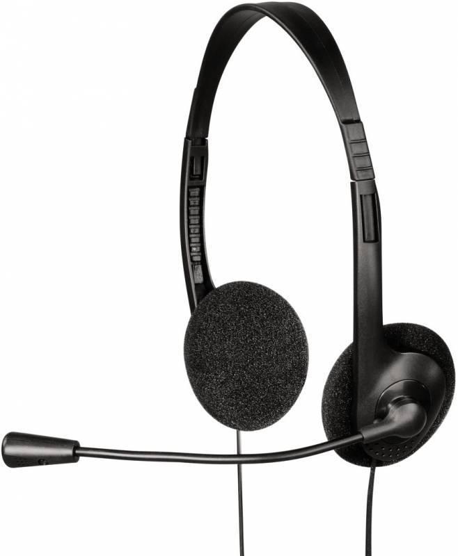 Наушники с микрофоном Hama HS-101 черный - фото 1