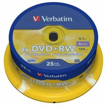 Диск DVD+RW Verbatim 4.7Gb 4x (25шт) (43489)