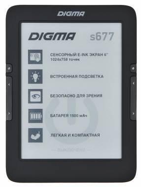 Электронная книга 6 Digma S677 черный