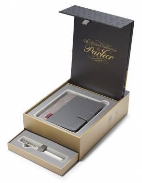 Набор Parker Sonnet F540 (1978406) Pearl Metal PGT ручка перьевая M синие чернила в компл.:органайзер