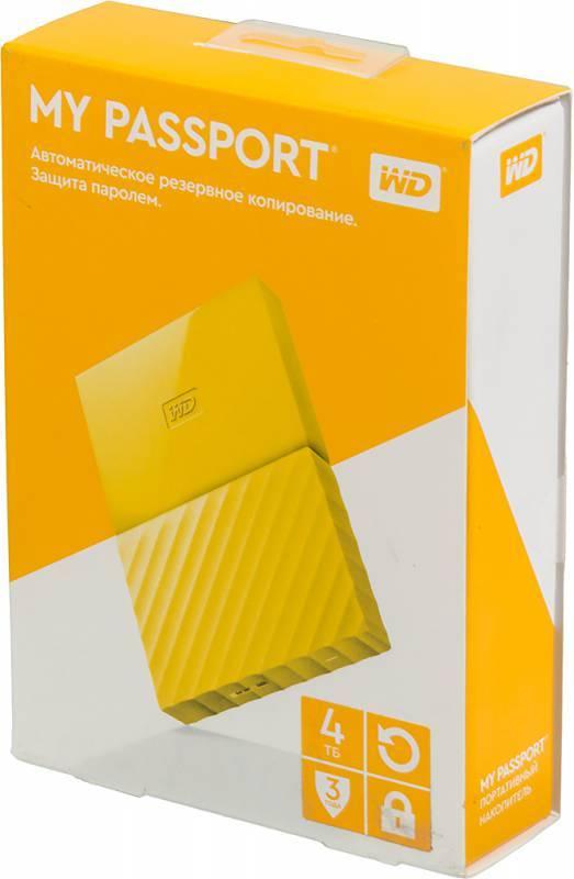 Внешний жесткий диск 4Tb WD My Passport WDBUAX0040BYL-EEUE желтый USB 3.0 - фото 4