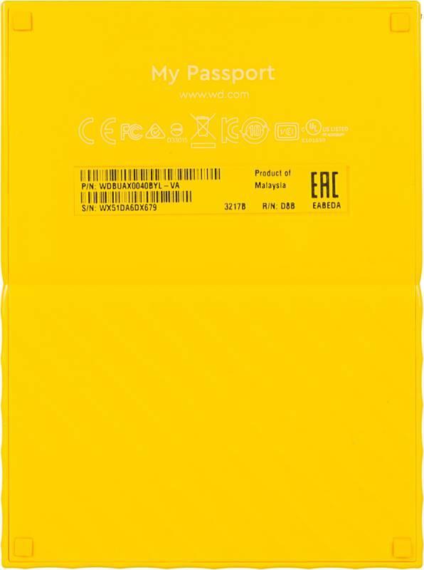 Внешний жесткий диск 4Tb WD My Passport WDBUAX0040BYL-EEUE желтый USB 3.0 - фото 3