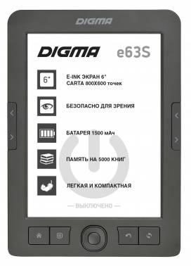 "Электронная книга 6"" Digma E63S темно-серый"