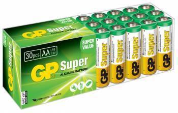 Батарея AA GP Super Alkaline 15A LR6, в комплекте 30шт. (GP 15A-B30)
