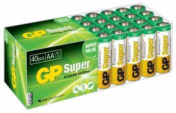Батарея AA GP Super Alkaline 15A LR6, в комплекте 40шт. (GP 15A-B40)