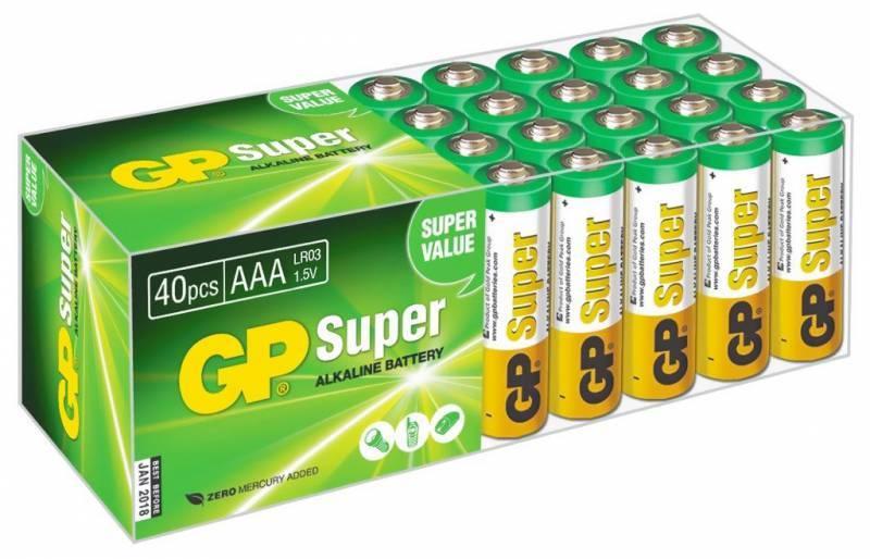 Батарея AAA GP Super Alkaline 24A LR03, в комплекте 40шт. (GP 24A-B40) - фото 1
