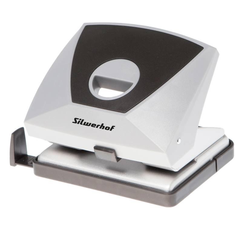 Дырокол Silwerhof DIAMOND серый/черный (391004-01) - фото 1