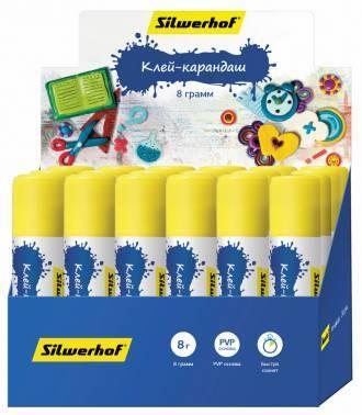 Клей-карандаш Silwerhof 431056-15 15гр ПВП дисплей картонный Пластилиновая коллекция
