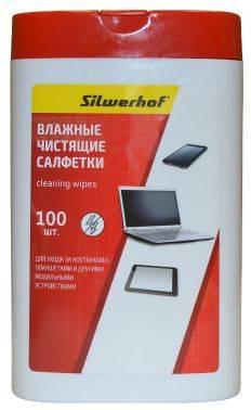 Чистящие салфетки влажные, для ноутбуков / планшетов, SILWERHOF NOTEBOOK CLEAN, 100шт., пластиковая кр