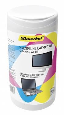 Чистящие салфетки влажные, для экранов мониторов / телевизоров всех типов, SILWERHOF SCREEN CLEAN, 100