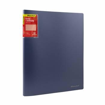 Папка с 10 прозр.вклад. Silwerhof Perlen 291910-74 A4 0.6мм карман синий металлик корешок 8 мм
