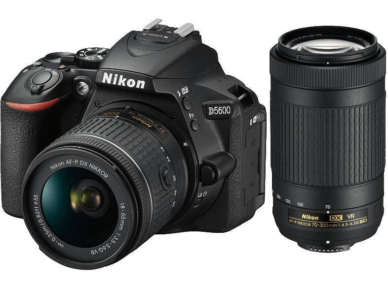 Фотоаппарат Nikon D5600 черный, 2 объектива 18-55 VR AF-P f/3.5-5.6G и 70-300 VR AF-P f/4.5-6.3G (VBA500K004) - фото 1