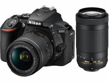 Фотоаппарат Nikon D5600 черный, 2 объектива 18-55 VR AF-P f / 3.5-5.6G и 70-300 VR AF-P f / 4.5-6.3G
