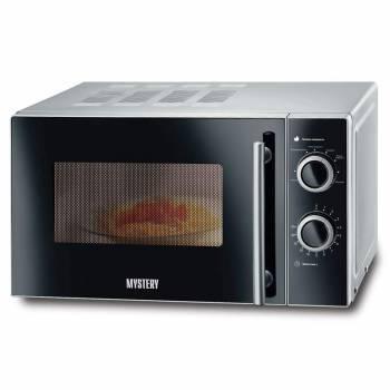 Микроволновая Печь Mystery MMW-2032 серебристый/черный, мощность 800Вт, объем 20л, механическое управление