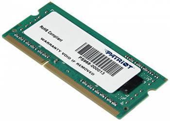 Модуль памяти Patriot PSD34G1600L82S, объем 1 х 4Gb, форм-фактор SO-DIMM 204-pin, тип памяти DDR3L, рабочая частота 1600MHz, unbuffered