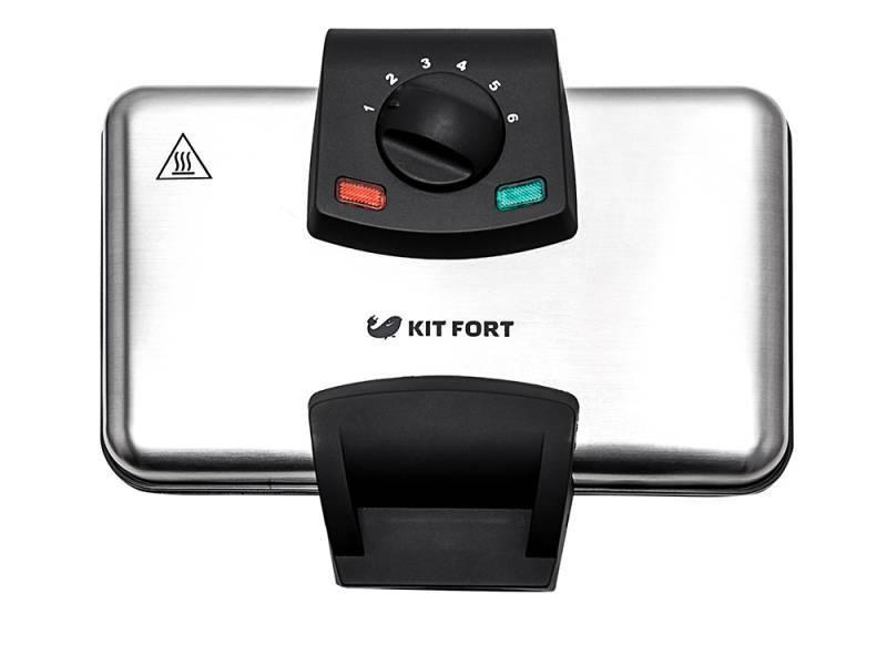 Вафельница Kitfort KT-1606 серебристый/черный - фото 3