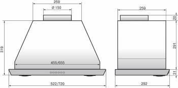 Встраиваемая вытяжка Elikor 72Н-1000-Э4Г Врезной блок нержавеющая сталь