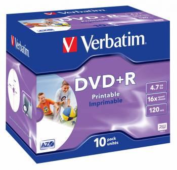 Диск DVD+R Verbatim 4.7Gb 16x (10шт) (43508)