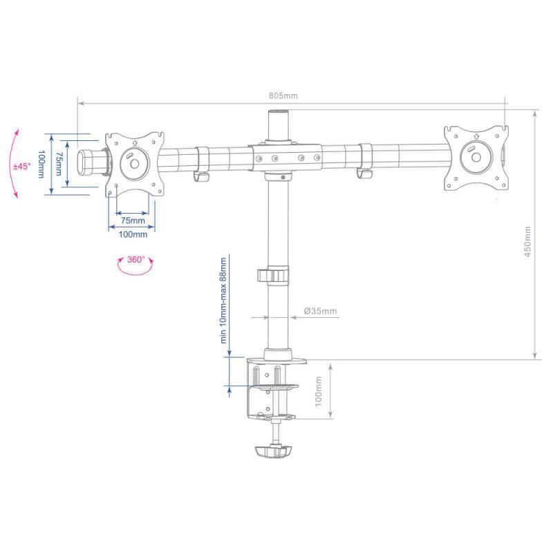 Кронштейн для мониторов Arm Media LCD-T42 черный - фото 2