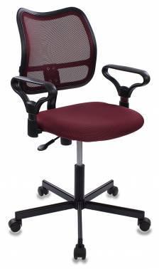 Кресло Бюрократ CH-799M/CH/TW-13N спинка сетка, цвет обивки: темно-бордовый TW-13N, ткань, крестовина металлическая