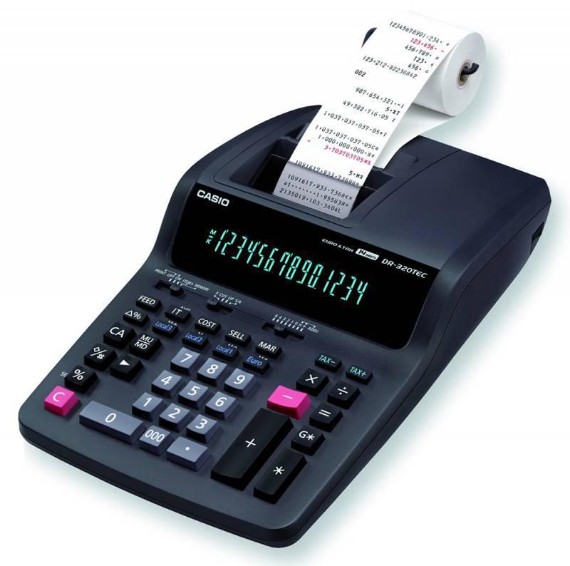 Калькулятор с печатью Casio DR-320TEC серый 14-разр. - фото 1
