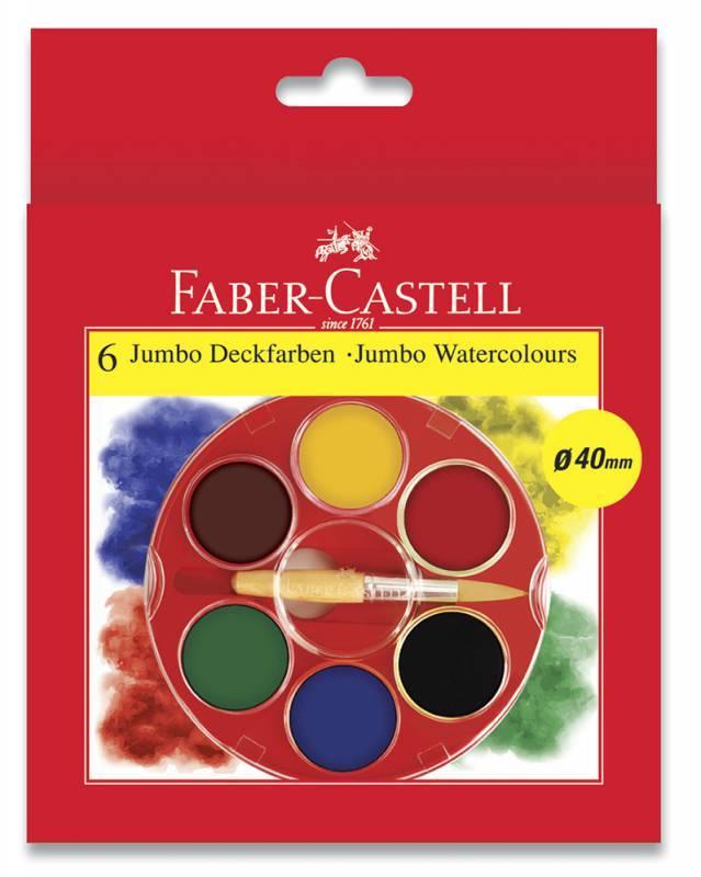 Краски акварельные Faber-Castell JUMBO 6 цветов с кистью (125007) - фото 1