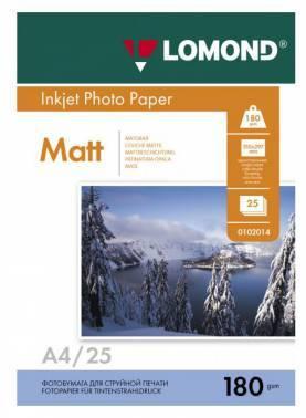 Фотобумага Lomond 0102037 A4 180г/м2 25л. белый