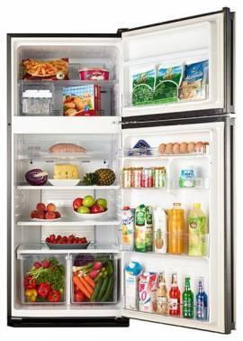 Холодильник Sharp SJ-PC58ABK черный, двухкамерный, общий объем 437л, размораживание холодильной камеры: Система гибридного охлаждения Hybrid Cooling, размораживание морозильной камеры: No Frost, расположение морозильной камеры: сверху