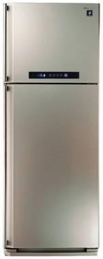 Холодильник Sharp SJ-PC58ACH шампань, двухкамерный, общий объем 437л, размораживание холодильной камеры: Система гибридного охлаждения Hybrid Cooling, размораживание морозильной камеры: No Frost, расположение морозильной камеры: сверху