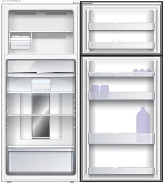 Холодильник Sharp SJ-XE35PMBE бежевый, двухкамерный, общий объем 397л, размораживание холодильной камеры: Система гибридного охлаждения Hybrid Cooling, размораживание морозильной камеры: No Frost, расположение морозильной камеры: сверху